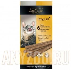 фото Edel Cat- Эдель Кэт Лакомство для кошек Колбаски курица/индейка дрожжи