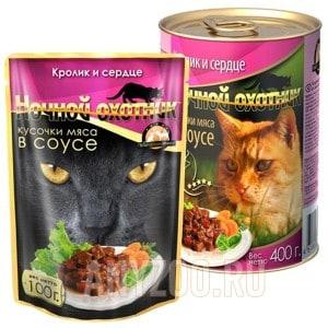 фото Ночной охотник консервы для кошек кролик с сердцем в соусе