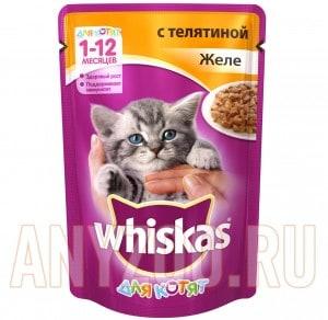фото Whiskas - Вискас пауч  для котят телятина в желе