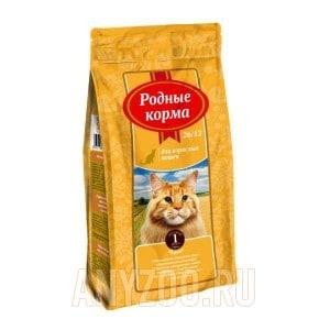 Родные корма 26/12 сухой корм для взрослых кошек курица