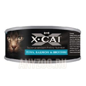 фото X·Cat Икс-кет консервы для кошек и котят тунец с лососем и брокколи