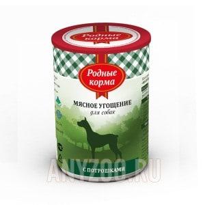Родные корма Мясное угощение консервы для собак с потрошками
