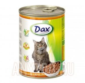 Dax Дакс консервированный корм для взрослых кошек кусочки в соусе с домашней птицей