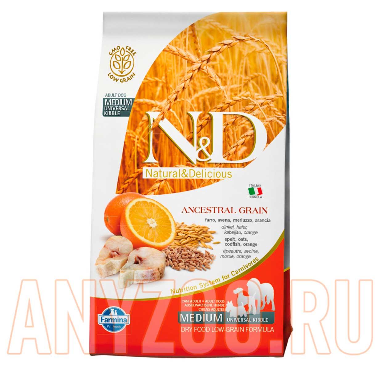 Фото товара Farmina N&D LG Фармина сухой корм для собак средних пород Треска Апельсин
