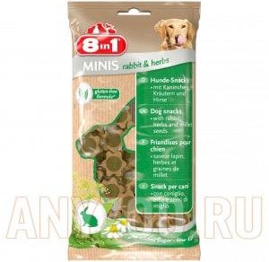 Купить 8 in 1 Minis Лакомство для собак с кроликом, травами и просом
