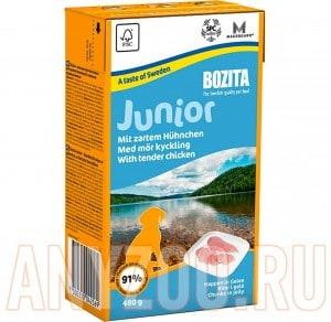 Купить Bozita Tetra Recart Бозита Кусочки в желе для щенков и молодых собак  с Курицей