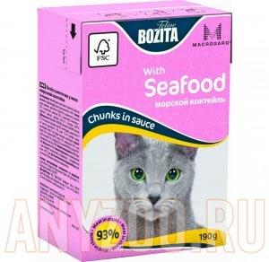 Купить Bozita Mini Tetra Pak д/кошек кусочки в соусе Морской коктейль