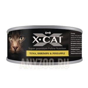 фото X·Cat Икс-кет консервы для кошек и котят тунец с креветками и ананасом