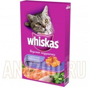 фото Whiskas Вискас сухой корм для взрослых кошек Подушечки нежный паштет лосось