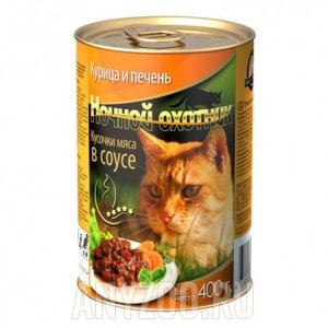 Ночной охотник консервы для кошек курица с печенью в соусе