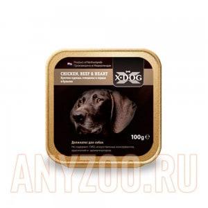 Купить X·Dog Икс-Дог консервы для собак кусочки курицы, говядины и сердца в бульоне