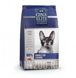 Купить Gina Elite GF Cat Salmon Джина Элит сухой корм для взрослых кошек с лососем UK
