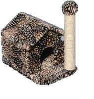 фото Зооник дом для кошки с когтеточкой (цветной мех) 360*520*500
