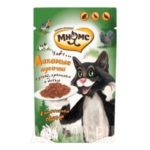 Купить Мнямс Пир охотника пауч для взрослых кошек Утка, кролик, дичь