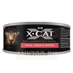 фото X·Cat Икс-кет консервы для кошек и котят тунец с крабом и папайей
