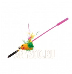 фото VIPet Дразнилка-удочка с игрушкой птица с перьями