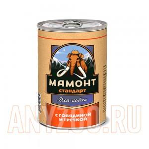 Мамонт Стандарт Говядина с гречкой консервы для собак жестяная банка