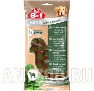 Купить 8 in 1 Minis Лакомство для собак с ягненком, шпинатом и картофелем