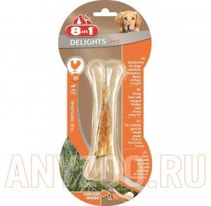 Купить 8 in 1 Delights Косточка сверхпрочная для собак средних и крупных пород с курицей, размер M,14,5см