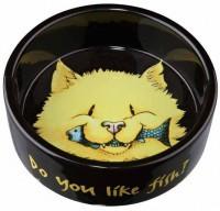 "фото Trixie Миска керамическая для кошки ""Do you like Fish"" черная"