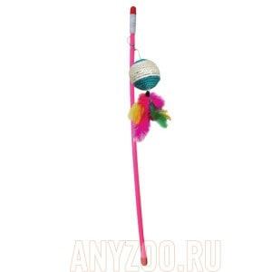 Триол игрушка для кошек удочка-дразнилка Шарик с перьями