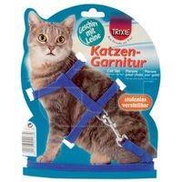 фото Trixie 4185 Шлейка для кошек однотонная с поводком, нейлон 35см*10мм