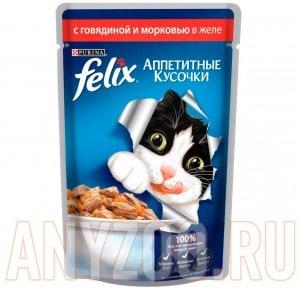 Купить Felix Аппетитные кусочки Пауч для кошек Говядина с морковью в желе