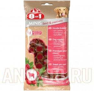 Купить 8 in 1 Minis Лакомство для собак с ягненком, клюквой и картофелем
