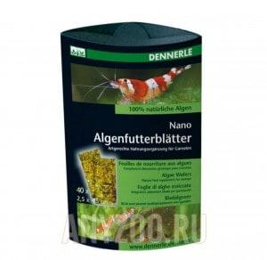 "фото Dennerle Nano Algenfutterblatter Корм из водорослей в виде ""листков"" добавка к корму для креветок"