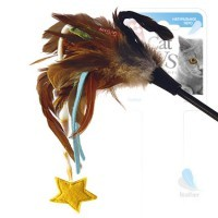фото GiGwi Дразнилка для кошек со звёздочкой, натуральные некрашеные перья