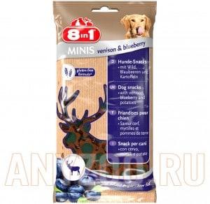Купить 8 in 1 Minis Лакомство для собак с олениной, черникой и просом