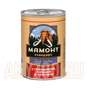 Мамонт Стандарт Говядина с сердецем и печенью консервы для собак жестяная банка