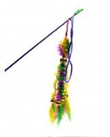 фото I.P.T.S. 430262 Игрушка для кошек Удочка 6 вельветовых хвостиков с перьями, 46см