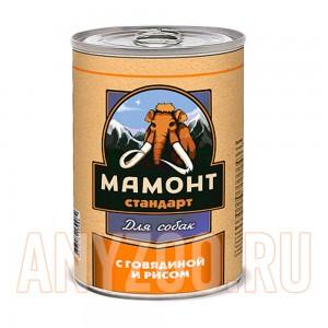 Мамонт Стандарт Говядина с рисом консервы для собак жестяная банка