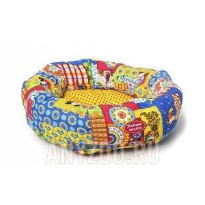 Родные места Ватрушка -лежак для собак и кошек Лоскутки