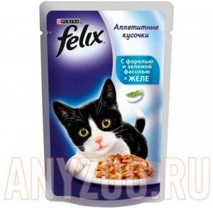 Купить Felix Аппетитные кусочки Пауч для кошек Форель с зеленой фасолью в желе